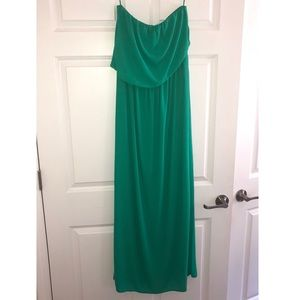 Express Strapless Asymmetrical Top Maxi Dress
